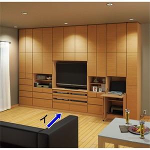 テレビ台の高さが選べて配線も隠せる壁面収納