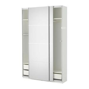 【IKEA/イケア】 PAX ワードローブ, ホワイト, アウリ ミラーガラス